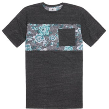 On The Byas Rodey Floral Print T-Shirt  Mens Tee  Gray -