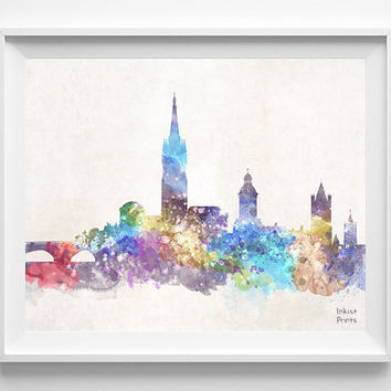 Dublin Skyline, Ireland Watercolor, Poster, Leinster Print, Bedroom, Art, Cityscape, City Painting, Living, Illustration, Europe [NO 439]