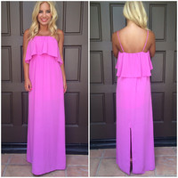 Caelyn Chiffon Maxi Dress - LAVENDER