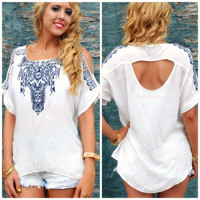 Mazatlan Off-White Embroidered Loose Top