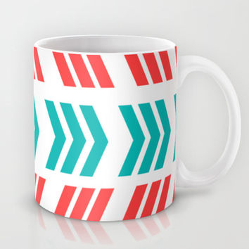 Aqua Pop and Coral Zig Zag Mug by Lisa Argyropoulos | Society6