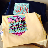 LONG SLEEVED Personalized Monogrammed Pocket T-shirts
