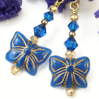 Blue Butterfly Earrings with Crystals, Czech Glass, Swarovski, Gold-Filled Beads, Handmade Beaded One-of-a-Kind Jewelry, Nice for Summer
