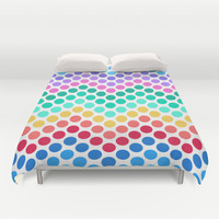 Dot Chevron: Rainbow Duvet Cover by Eileen Paulino