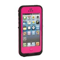 High Quality Hard Plastic PC Waterproof Shockproof Dirt Dust Proof Hard Cover Case For Apple iPhone 5 5th 5S- With Free Stylus Pen (Hot Pink)