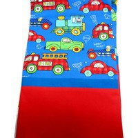 Boys Pillowcase Cars Trucks Trains Handmade Standard Queen Colorful