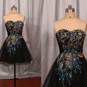 2014 black tulle prom dresses with rhinestone,short embroidered peacock feather womengowns,latest cheap homecoming party dress hot.