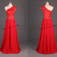 2014 long red chiffon and applique lace prom dress,elegant one shoulder evening gowns,cheap dresses for homecoming party.