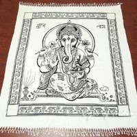 WHITE QUEEN GANESHA THROW BEDSPREAD WALL HANGING TAPESTRY Blanket Decorative