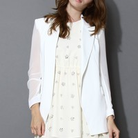Chiffon Blazer with Sheer Panels in White