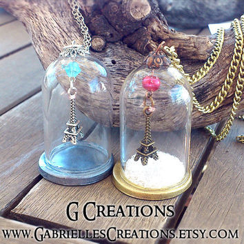 Eiffel Tower Globe Necklace Winter in Paris - Glass Dome Snow Globe Jewlery - Mini Terrarium Globe Pendant - Romantic Paris Jewelry