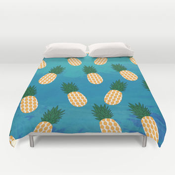 Pineapples  Duvet Cover by Ashley Hillman