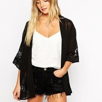 Influence Kimono With Lace Trim