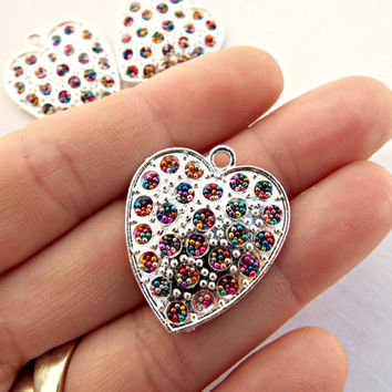 3 Microbead Charms, Micro Bead Hearts, Heart Pendants, Multi Color Hearts, Handmade 27mm Caviar Bead Pendant Charms, Silver Heart Pendants