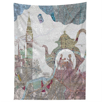 Belle13 4 O Clock Tea London Map Tapestry