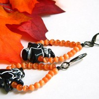 Halloween Witch Earrings - Black and White with Orange Beads, Handmade