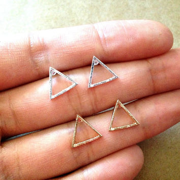 On sales- Triangle stud earring, Geometric earrings. Triangle earring. Geometric stud earring. Dainty earring. birthday gift. Gift for her.