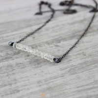 White Sapphire Necklace, Sapphire Gemstone Necklace, Black Oxidized Sterling Silver, Gemstone Bar, Delicate Necklace, September Birthstone