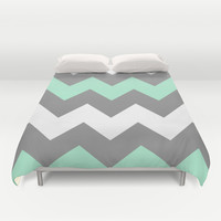 Mint White Grey Chevron Duvet Cover by CreativeAngel | Society6