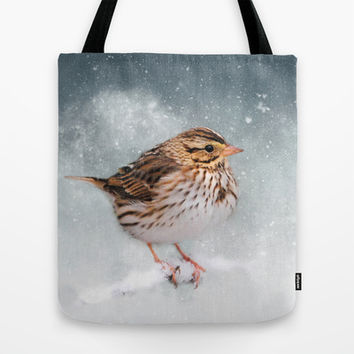 Snow Sparrow Tote Bag by Jai Johnson