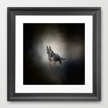 Feet First - German Shepherd Puppy Framed Art Print by Jai Johnson
