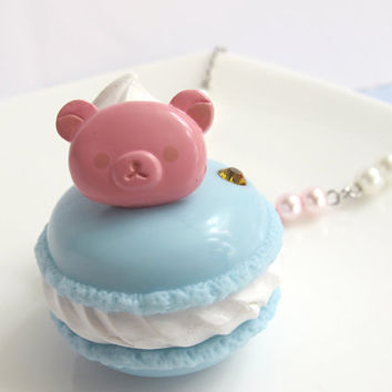 Kawaii Japanese Lolita Fairykei Sweets Deco Baby Blue Macaroon with pink Rilakkuma bear chocolate bear topping Pearls Necklace