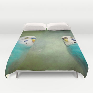 The Budgie Collection - Budgie Pair Duvet Cover by Jai Johnson
