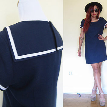 Vintage 80's navy dark blue sailor anchor day dress size large L 8-10