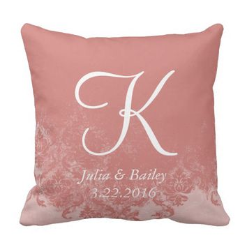 Coral Damask Personalized Wedding Pillow