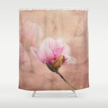 Pink Magnolia II - Flower Art Shower Curtain by Jai Johnson
