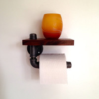 Memphis Street Toilet Paper Holder // Reclaimed Wood & Pipe