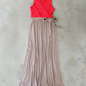 Coral Beach House Maxi Dress [5029] - $38.25 : Vintage Inspired Clothing & Affordable Dresses, deloom | Modern. Vintage. Crafted.