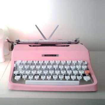 Vintage Pink Olivetti Typewriter  Reconditioned Custom Painted