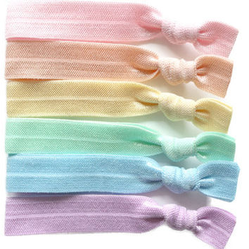 The Pastel Hair Tie Set: Creaseless Hair Ties,  Hair Accessories, Stretchy Hair Ties, Yoga Hair Ties, Hair Tie Bracelet, Elastic Hair Ties