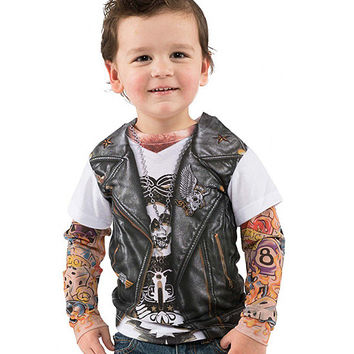 Black Biker Tattoo Layered Tee - Toddler | zulily