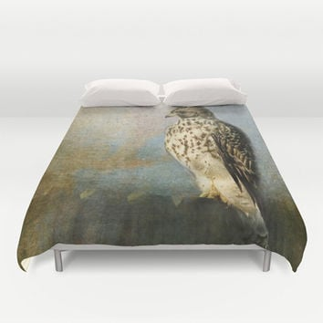 On The Fence - Juvenile Red Shouldered Hawk Duvet Cover by Jai Johnson