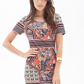 Ornate Print Bodycon Dress