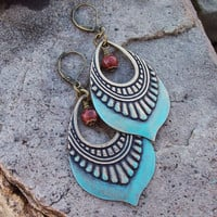 Patina Metal Bohemian Earrings with Terra Jasper Dangles - Tribal Gypsy - Ethnic Earrings - Bohemian Style Jewelry