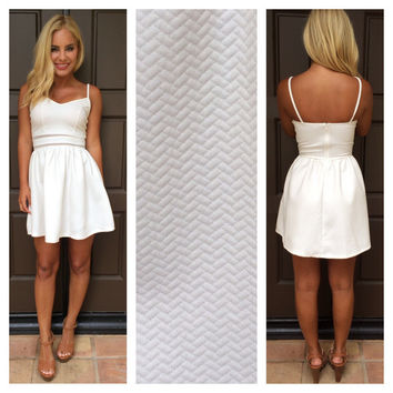 Blurred Lines Textured Dress  WHITE