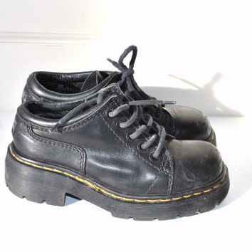 80s black doc martens low rise creeper black goth shoes size 6/7