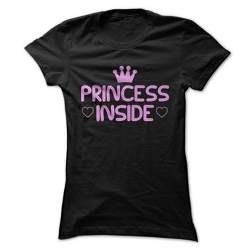Cute - Kawaii Pink Princess Inside Slogan - Love Heart and Crown Shirt