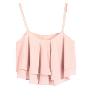 LookbookStore Summer Fashion Ruffled layers Sheer Crop Camisole