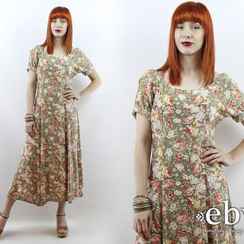Vintage 90s Taupe Floral Midi Dress L Xl Taupe Floral Dress 90s Grunge Dress 90s Floral Dress Festival Dress Summer Dress Boho Dress