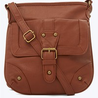 Solid Faux Leather Crossbody