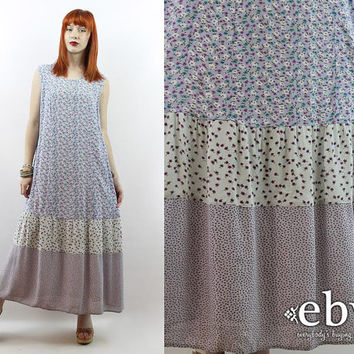 Vintage 90s Lavender Floral Maxi Dress L XL Summer Dress 90s Grunge Dress 90s Floral Dress Lavender Dress
