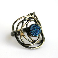 Blue Drusy Galaxy Ring Handmade Sterling by RachelPfefferDesigns