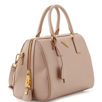 Saffiano Lux Bowler Bag with Strap, Tan (Cammeo)
