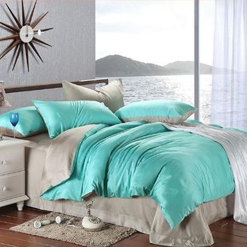New arrival Turquoise Grey Solid Color Duvet Cover Bedding Queen King Bedding Set Smooth Fashion…