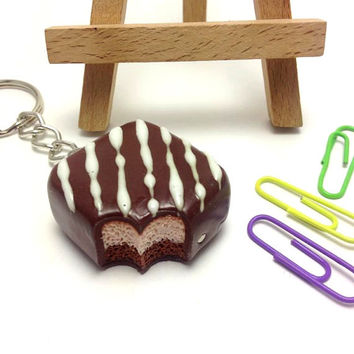 Chocolate Keyring, Chocolate Lovers Key Chain, Faux Bitten Chocolate Accessories, Kawaii Gift, Polymer Clay Key Chain, JosCreationsGR