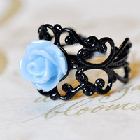 Light Blue Tea Rose Ring FREE shipping